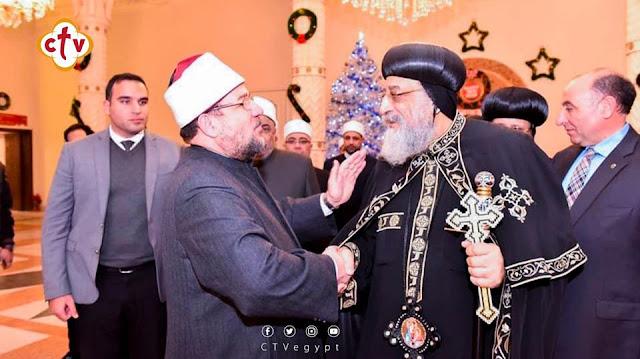 بالصور.. وزير الأوقاف وقياداته يهنئون قداسة البابا بعيد الميلاد