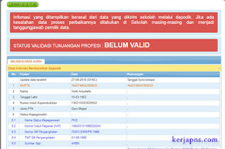 status validasi tunjangan profesi belum valid
