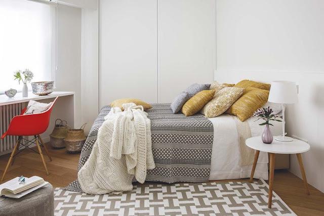 Accente de galben muștar în decorul unui apartament de 70 m² din Spania