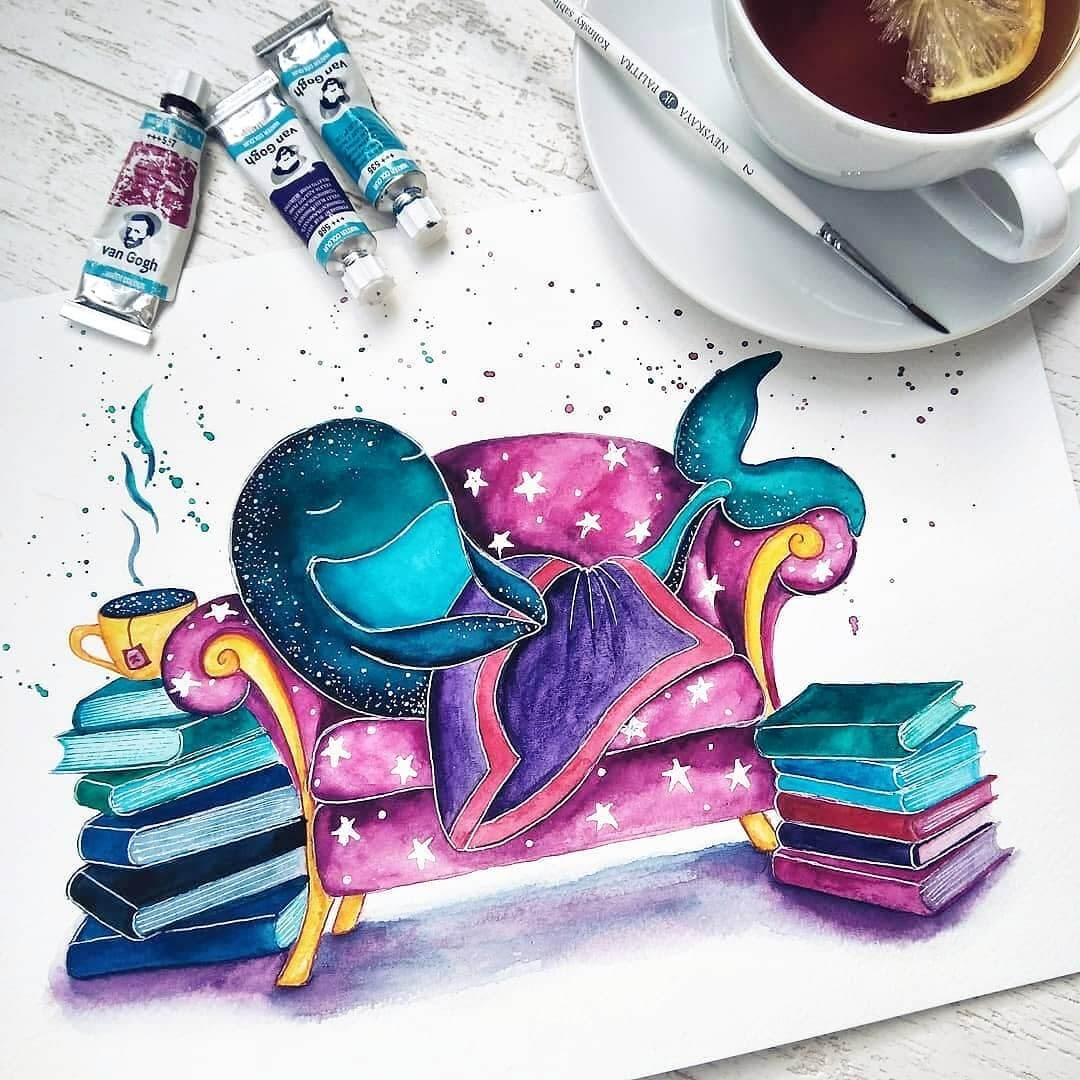 01-A-Tea-and-Books-Katya-Goncharova-9-Whale-Paintings-and-1-Giraffe-www-designstack-co