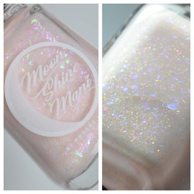 creme nail polish with flakies