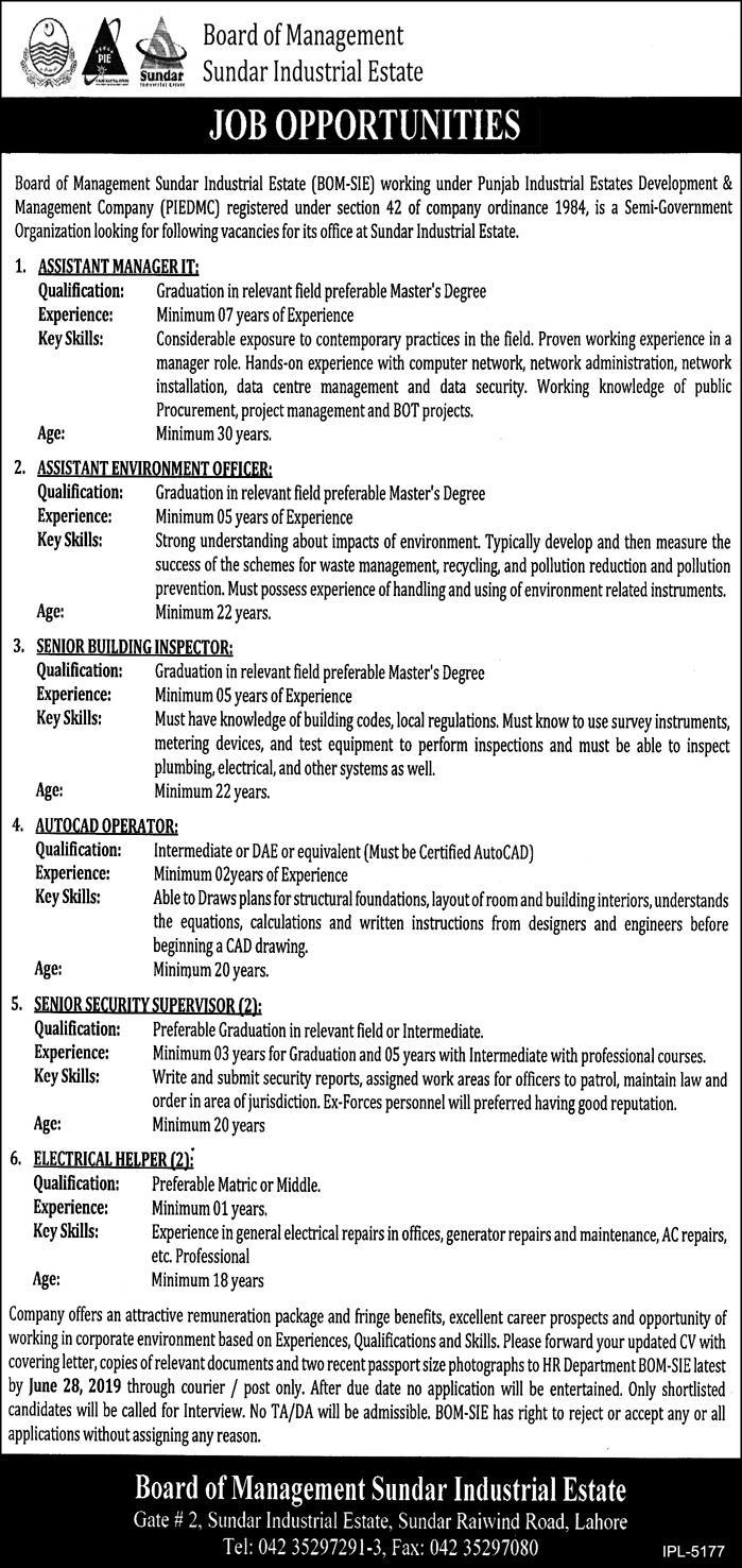 Jobs in Board of Management Sundar Industrial Estate 12 June 2019