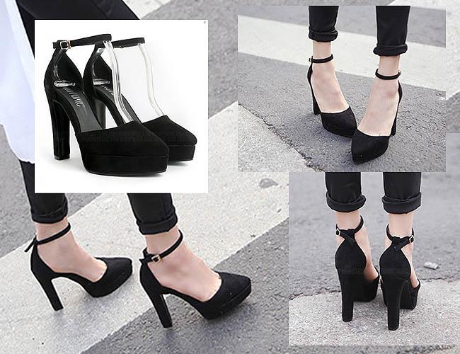 High heels yang cantik karena gaya semi round toe dari Korean Style