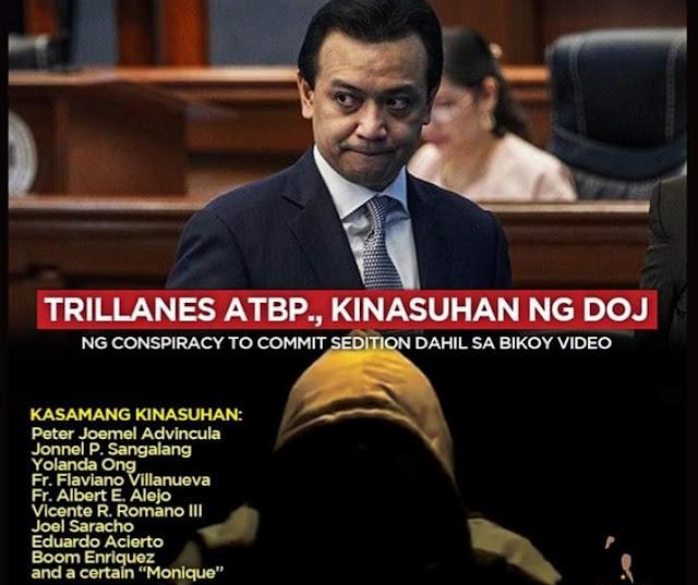 DOJ files Criminal Chargers against Trillanes,Bikoy, 9 others