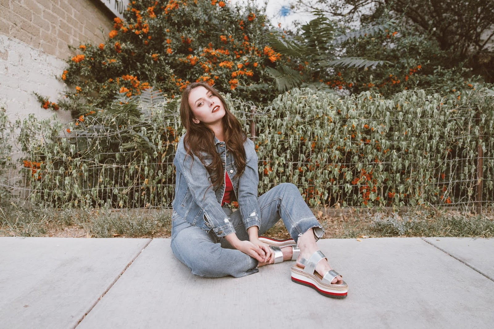 Arizona Girl fashion blog, Joe's Jeans, Stylinity, platform sandals, denim jacket, fall style 2018, Canadian tuxedo, Shelly Stuckman