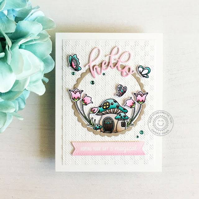 Sunny Studio Stamps: Embossing Folders Garden Fairy Stitched Circle Dies Card by Candice Fisher