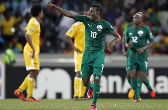 Burkina Faso player Alain Traoré celebrates after scoring his second goal against Ethiopia