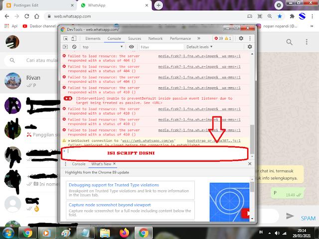 Cara bom wa atau spam chat wa hanya sekali klik 100% work