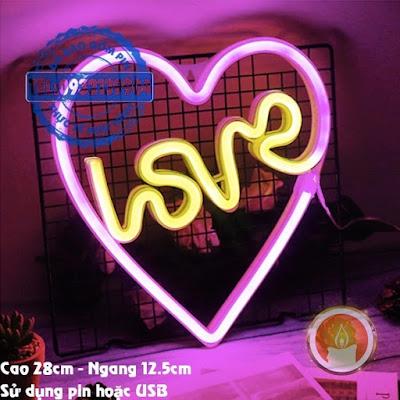 Đèn led neon love trong tim