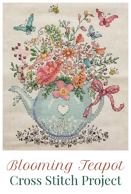 Blooming Teapot Counted Cross Stitch