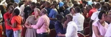 See Moment Pastor Instructs Church Members To Randomly Kiss Each Other During Church Service (Photos)