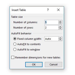 Membuat tabel dengan resize ukuran
