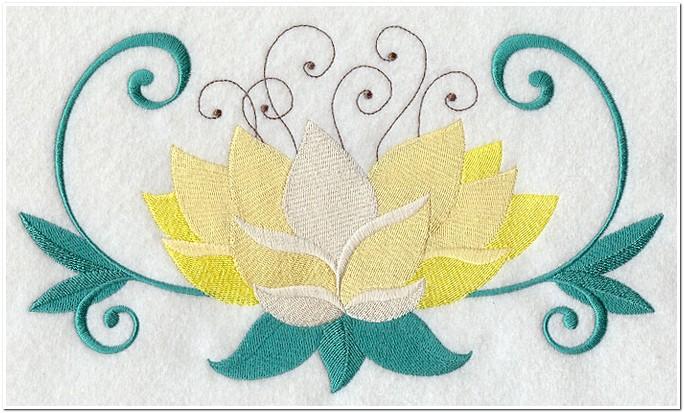 8 Contoh Gambar Motif Bordir Bunga Teratai Punching Bordir