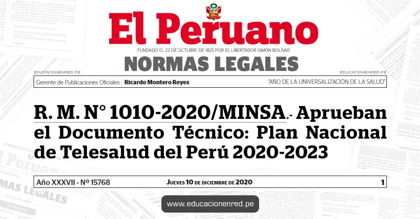 R. M. N° 1010-2020/MINSA.- Aprueban el Documento Técnico: Plan Nacional de Telesalud del Perú 2020-2023