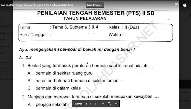 Soal Penilaian Tengah Semester 2 Kelas 2 Tema 6 Subtema 3 dan 4