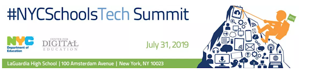 Logo for the #NYCSchoolsTech Summit on July 31, 2019 at LaGuardia HS | 100 Amsterdam Ave | New York, NY 10023