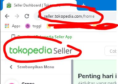 Tokopedia Seller di laptop / PC