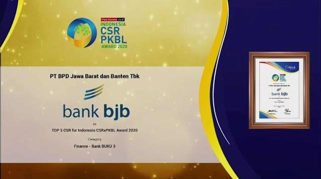 Konsisten Terapkan Profit, People, Planet,  bank bjb Raih Penghargaan CSRxPKBL Award 2020