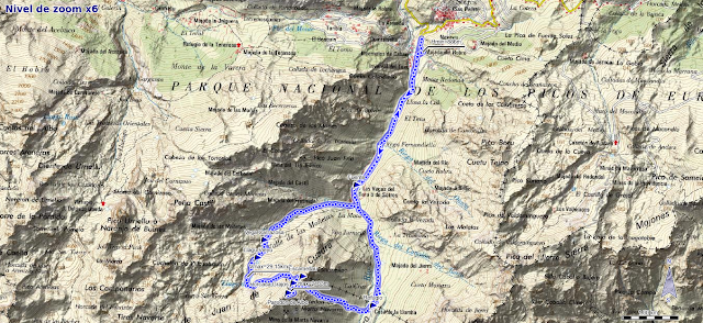 Mapa de la ruta del Escamellau