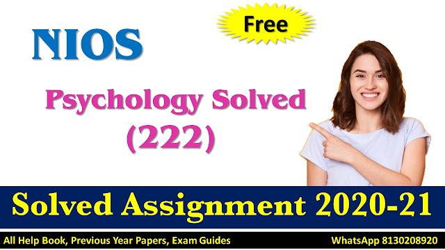 NIOS Class 10 Psychology Solved Assignment  2020-21