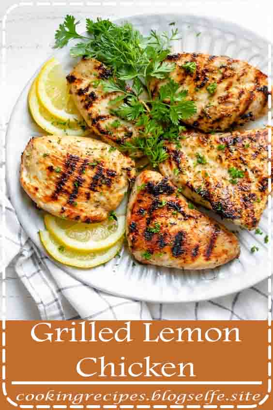 4.9 ★★★★★ | Grilled lemon chicken is a tender, juicy and savory grilling recipe that is perfect for summer. It's light, healthy and beaming with Mediterranean flavor! #healthy recipes #dinner #chicken #grilled