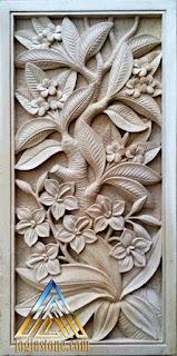 Ukiran bunga kamboja dari batu paras jogja/ batu putih gunungkidul, yogyakarta