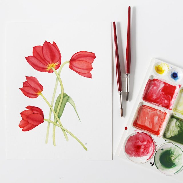 watercolor, botanical watercolor, watercolor tulips, Anne Butera, My Giant Strawberry
