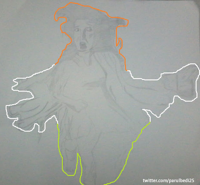 Hand Drawn Image of india made by Akash Bedi