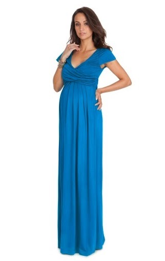 Aqua Draped Maternity Maxi Dress