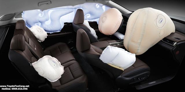Ảnh hưởng của va chạm được giảm thiểu đáng kể nhờ 10 túi khí SRS trong cabin, đem đến sự an toàn cho tất cả hành khách trên xe.