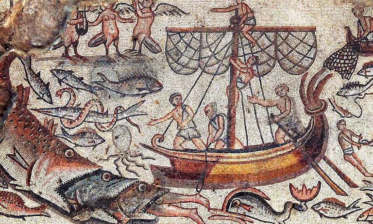 Jonas engolido pela baleia, mosaico da sinagoga de Huqoq, Galileia, Israel
