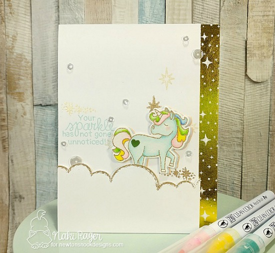 Unicorn Card by Nakaba Rager | Believe in Unicorns Stamp Set & Sky Borders Die set by Newton's Nook Designs #newtonsnook