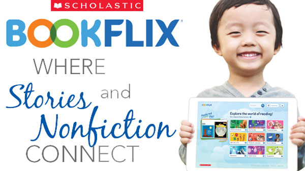 Scholastic Book flix - where stories and non fiction connect - photo of smiling boy with tablet