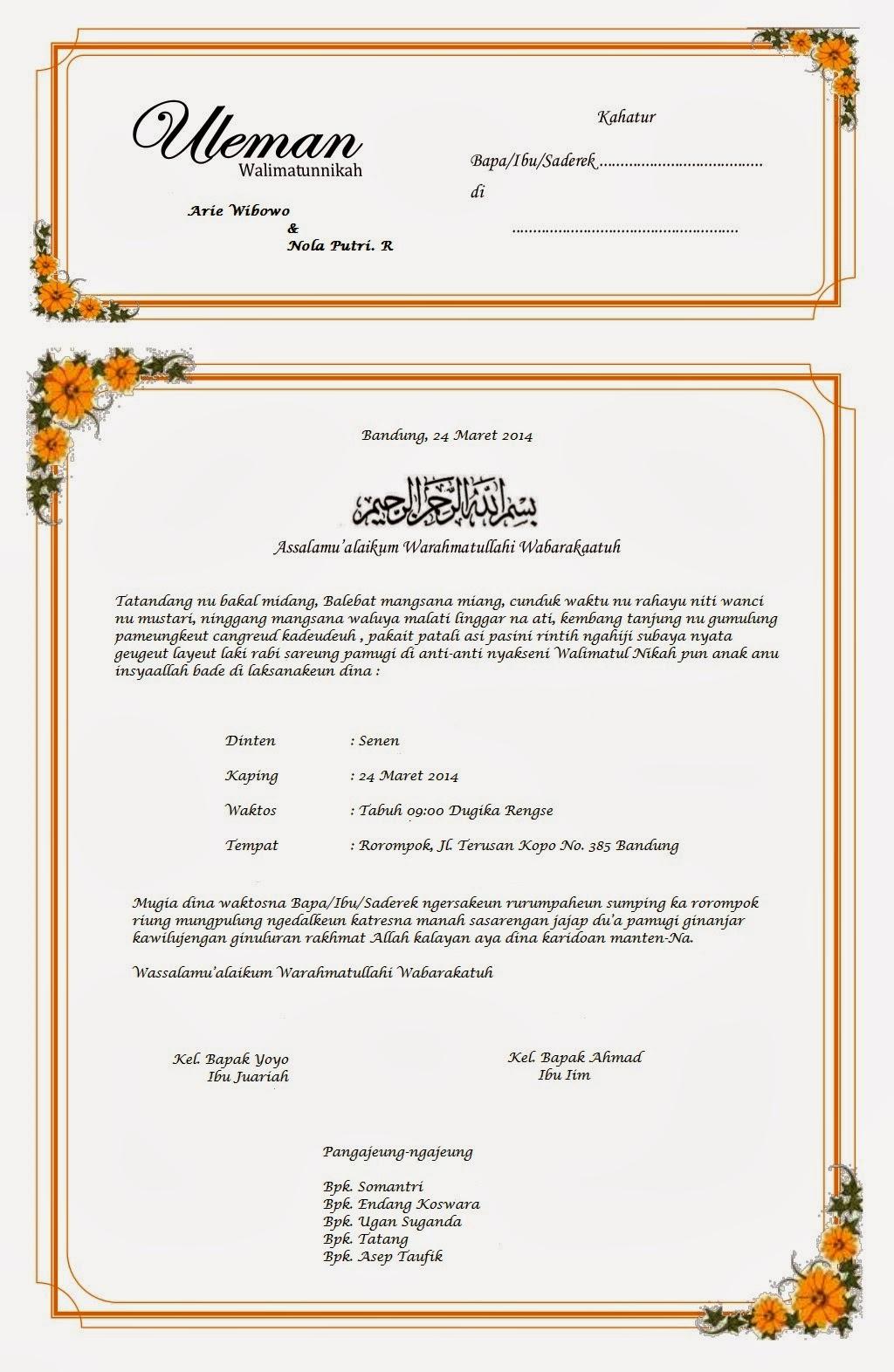 Contoh Surat Undangan Pernikahan Dalam Bahasa Sunda