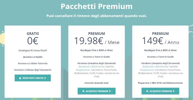 NinjaBet: i piani di abbonamento ed i pacchetti Premium