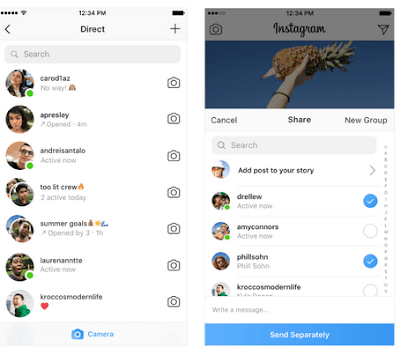 INSTAGRAM IS NOW  INDICATING WHO ARE ONLINE WITH GREEN DOT ATTACHED TO PROFILE PICTURE