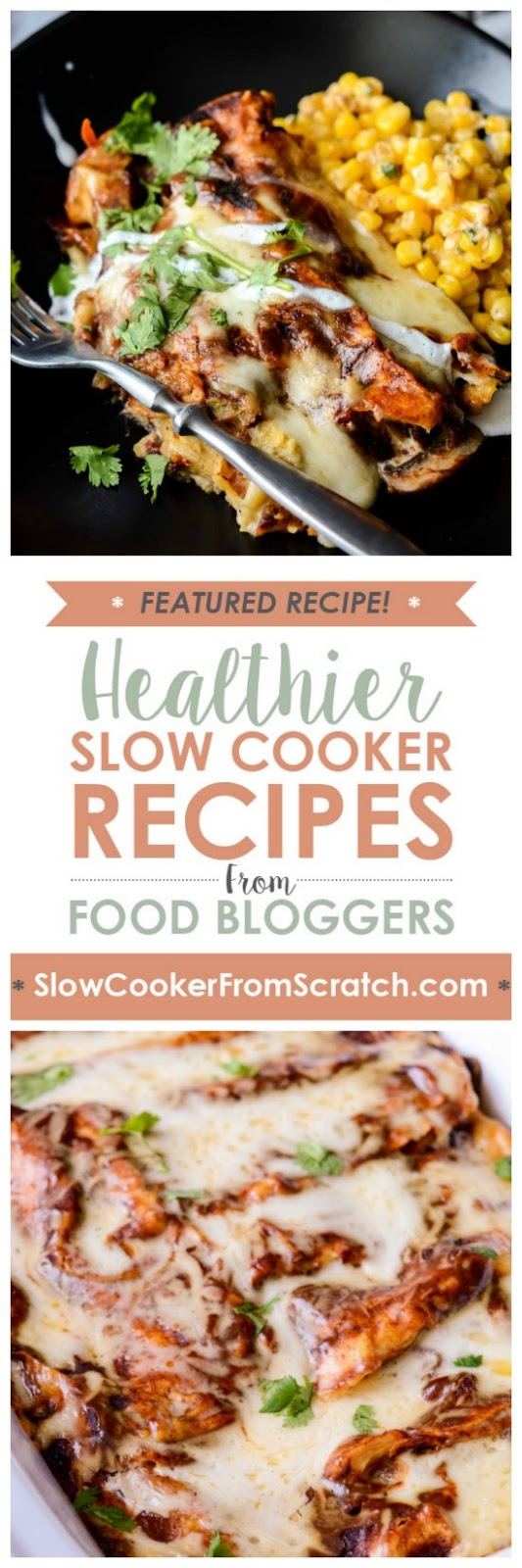 Slow Cooker Spinach and Mushroom Enchiladas from Slow Cooker Gourmet featured on SlowCookerFromScratch.com