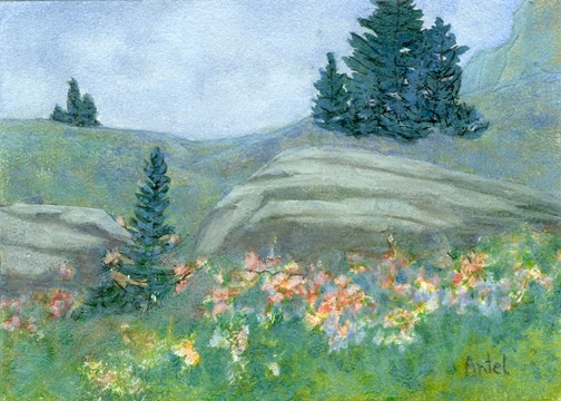 Photo of petite painting of an alpine rock garden in bloom.