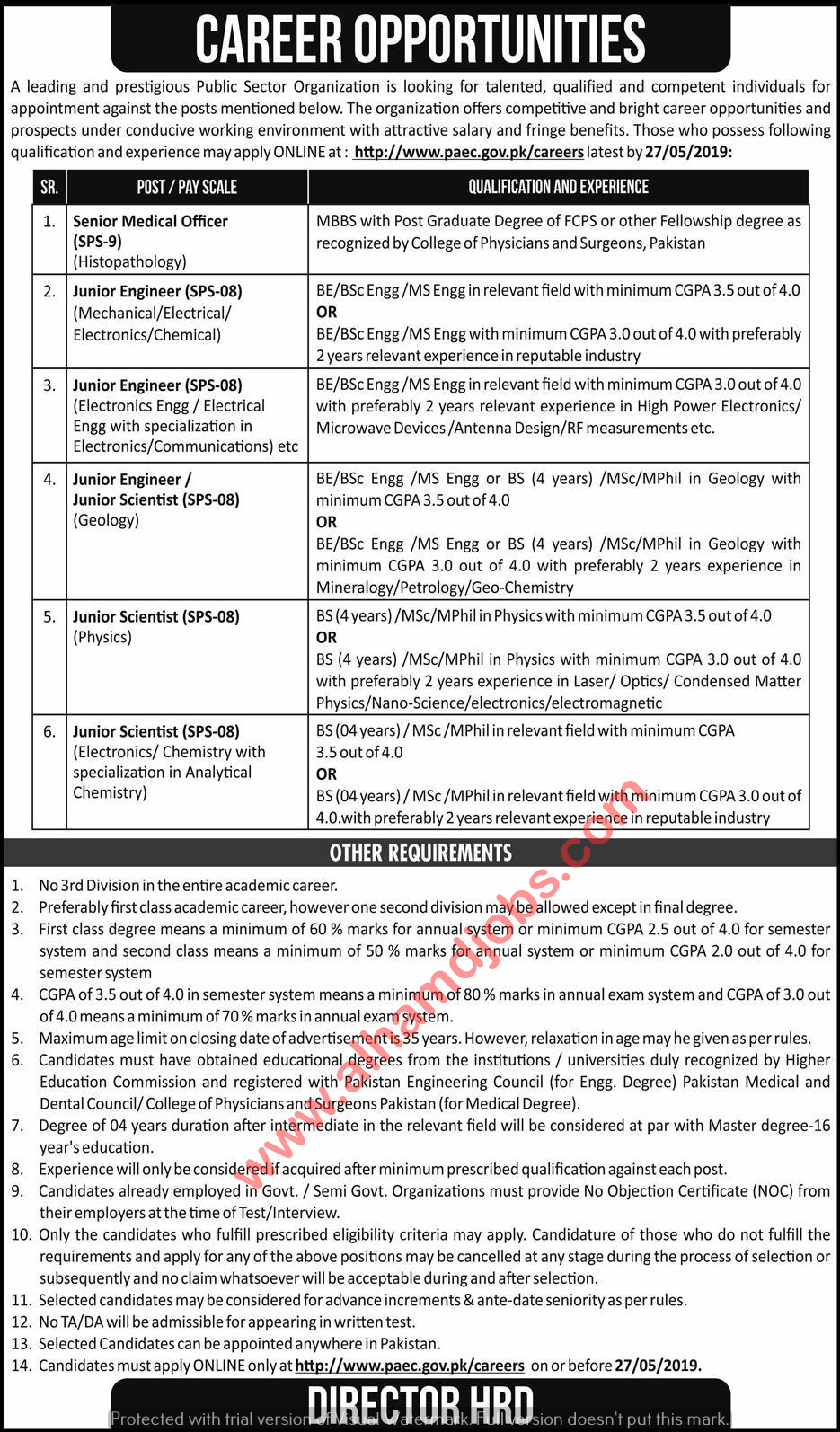 Jobs in Pakistan Atomic Energy Commission Sunday Jang Newspaper 12