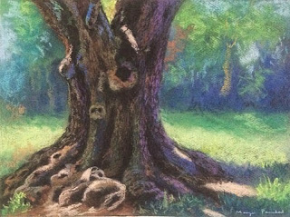 Original soft pastel painting of single tree standing alone, from Coorg by Manju Panchal
