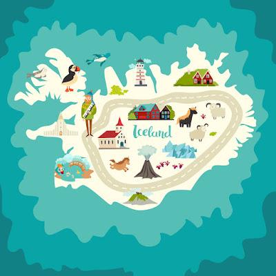 Mapa de Islandia con dibujos de historia y curiosidades de las diferentes regiones