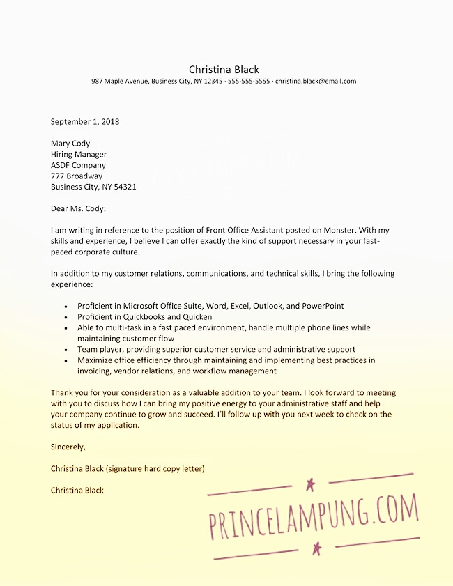 Contoh Surat Lamaran Kerja Bahasa Inggris Simple Kaskus