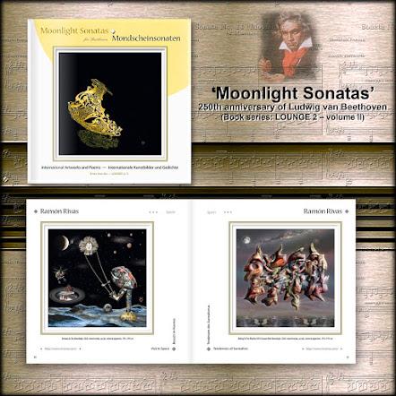 Portada del Libro: Moonlight Sonatas y las páginas 34 y 35 donde están publicadas  las obras de Ramón Rivas