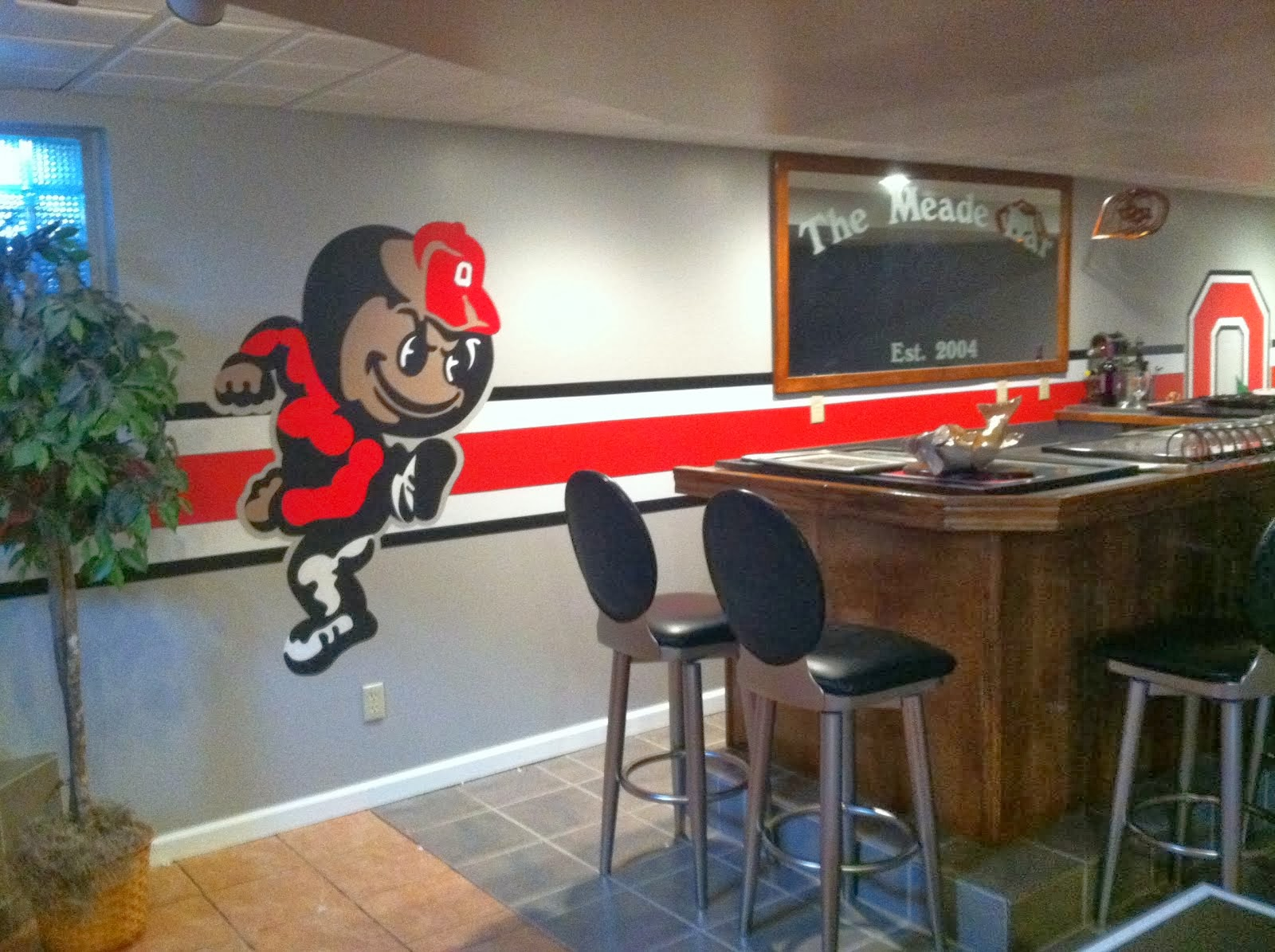 basement cave bar sports themed ohio state diy garage meade background