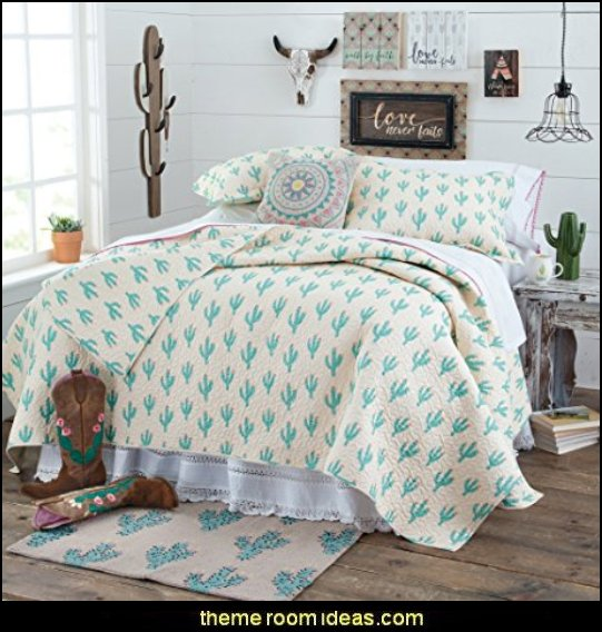 Cactus Quilt   Southwestern - American Indian theme bedrooms - mexican rustic style decor - wolf theme bedrooms - Santa Fe style - wolf bedding - Tipis, Tepees, Teepees - Decal sticker wolf - wolf wall mural decals - birch tree branches - cactus decor - Aztec print