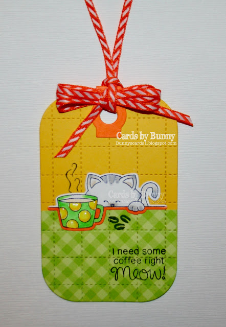 I need some coffee right meow! by Bunny features Newton Loves Coffee by Newton's Nook Designs; #inkypaws, #newtonsnook, #coffeecards, #cardmaking, #catcards
