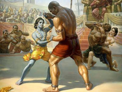 कंस की सभा में बलराम जी और कृष्ण जी द्वारा राक्षसो के साथ कुश्ती लड़ते हुये।