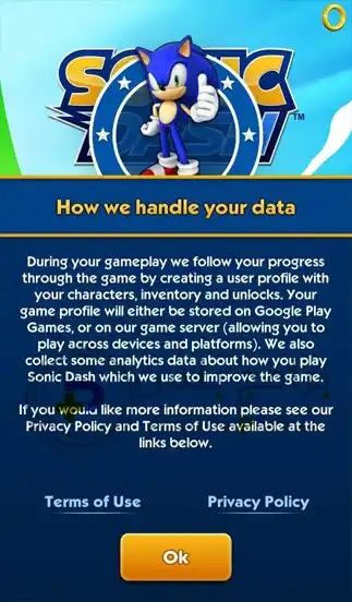 سياسة استخدام لعبة Sonic Dash