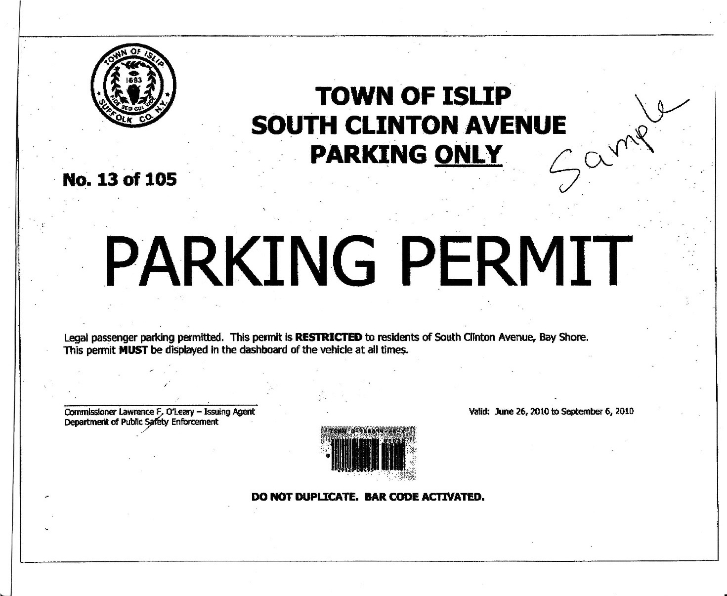 Stock Contractor Parking Permit Hang Tag, SKU - PP-2009-SEQ