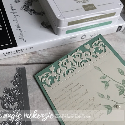 By Angie McKenzie for the Joy of Sets Blog Hop; Click READ or VISIT to go to my blog for details! Featuring the Very Versailles Stamp Set and Delicate Lace Dies; #stampinup #handmadecards #naturesinkspirations #stationerybyangie #joshop009 #anyoccasioncards #trifoldcards #veryversaillesstampset #cardtechniques #stamping #friendshipcards #makingotherssmileonecreationatatime